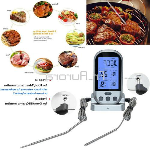 digital thermometer dual probes kitchen oven food